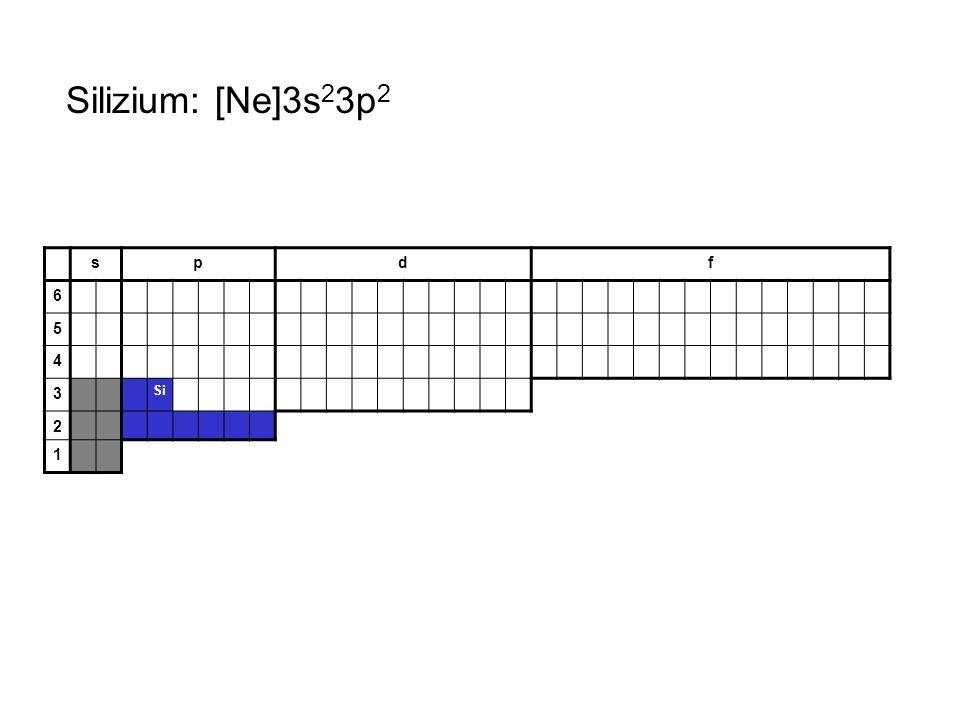 Silizium: [Ne]3s23p2 s p d f 6 5 4 3 Si 2 1